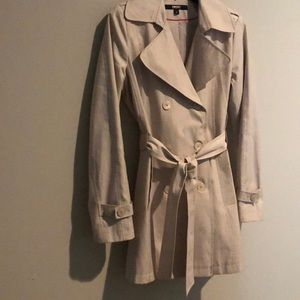 DKNY Natural Double-Breasted Trench Coat